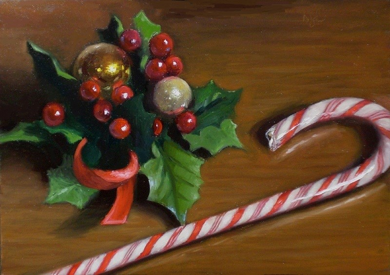"""Candy Cane and Holly"" original fine art by Debra Becks Cooper"