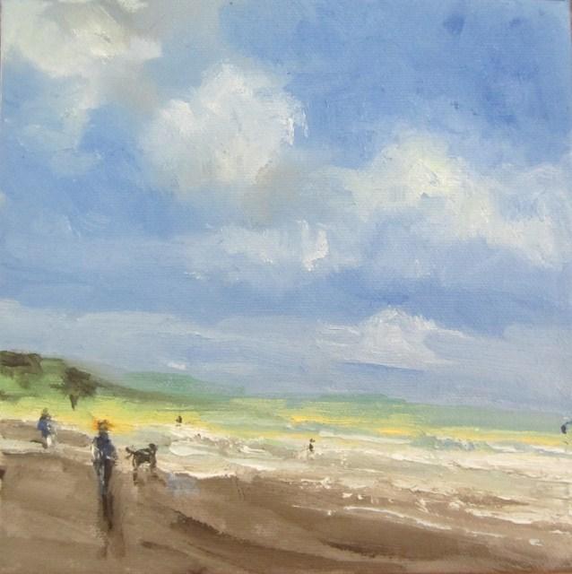 """""""Breeze at Autumn sunlight at the beach study"""" original fine art by Astrid Buchhammer"""