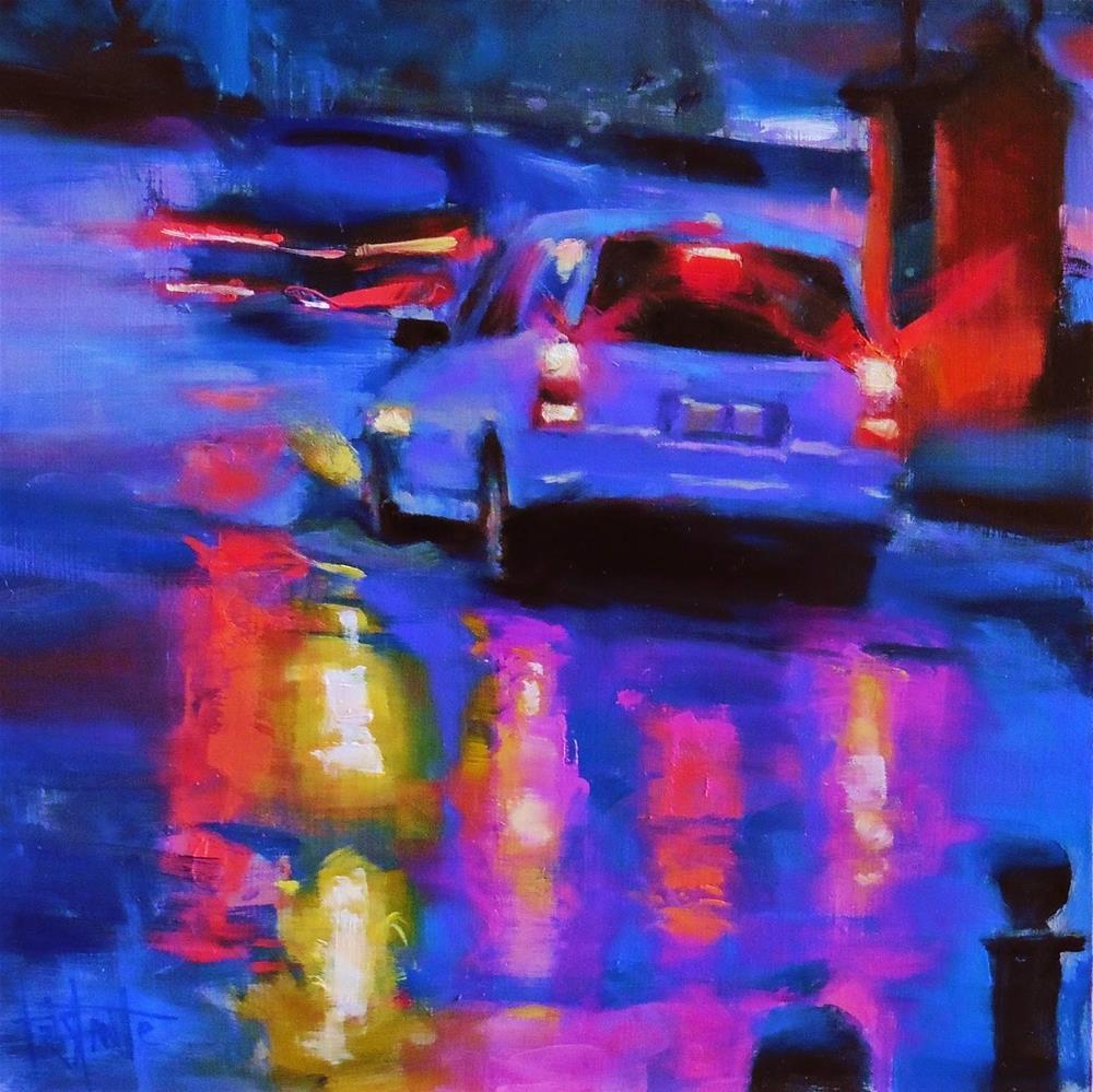 """Rainy night"" original fine art by Víctor Tristante"