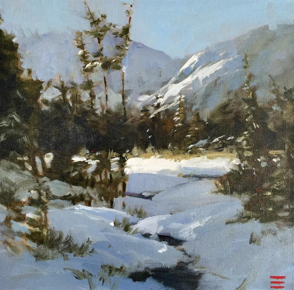 """Snowy Mountain"" original fine art by Krista Eaton"