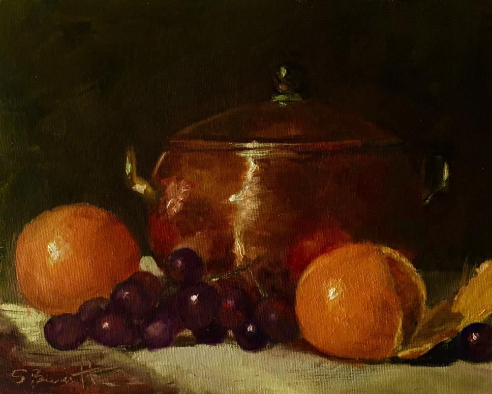 """""""Fruit and Copper Pot"""" original fine art by Sherri Burritt"""