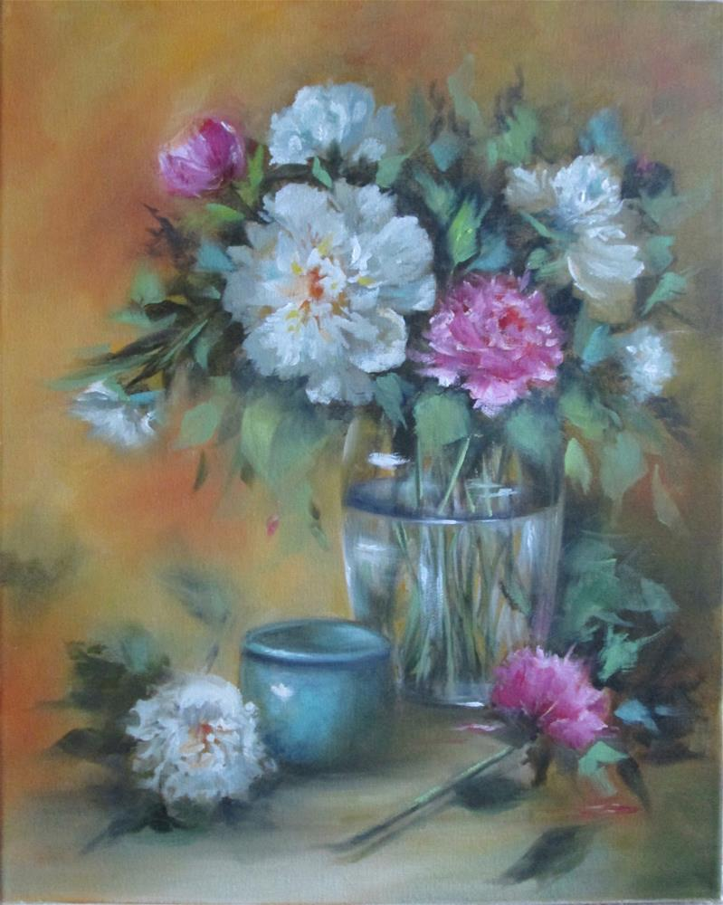 """Peonies - Pink and White"" original fine art by Barbara Wagner"