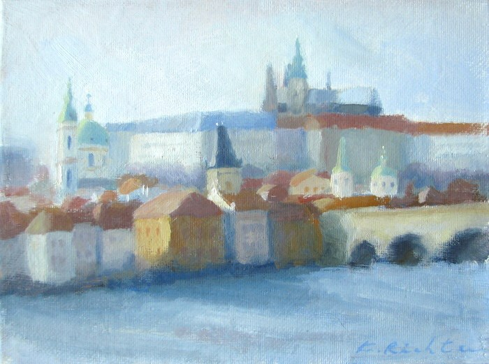 """Winter Afternoon, Prague"" original fine art by Keiko Richter"