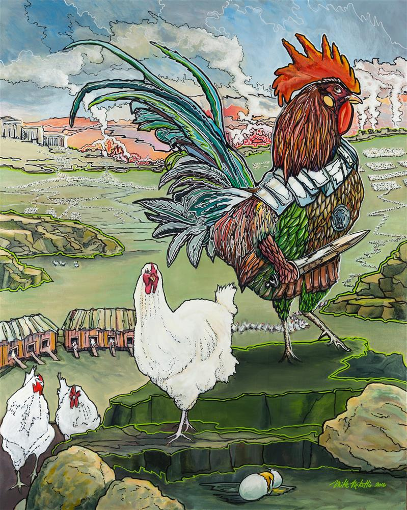 """""""Rooster Dreams of Justice"""" original fine art by Michael Mikottis"""