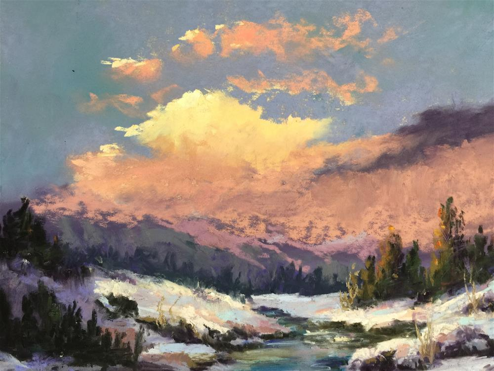 """Sun on the snow"" original fine art by Jan Hutchinson"