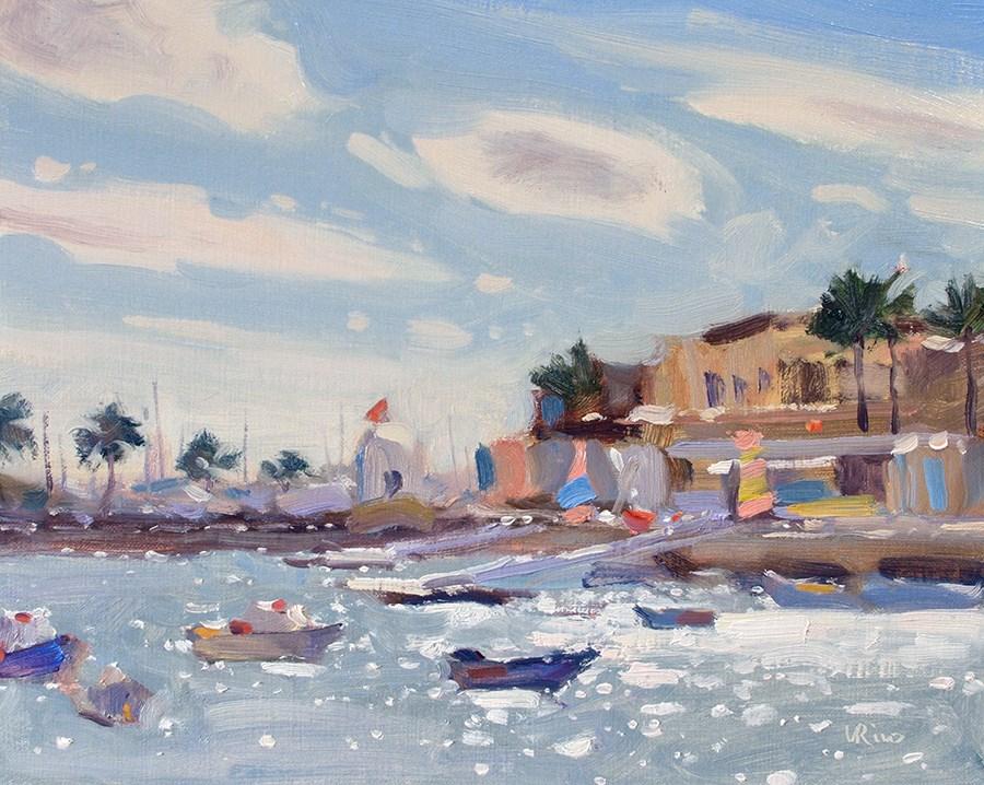 """Cascais Bay on a Windy Day"" original fine art by Lena  Rivo"