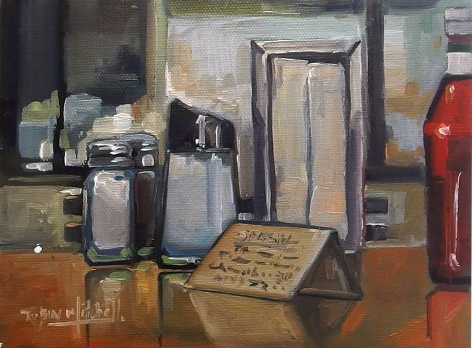 """No 837 Table Decorations"" original fine art by Robin J Mitchell"