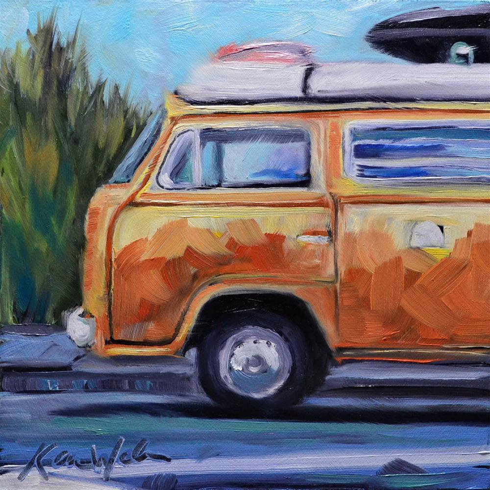 """Orange Bus"" original fine art by Karen Weber"