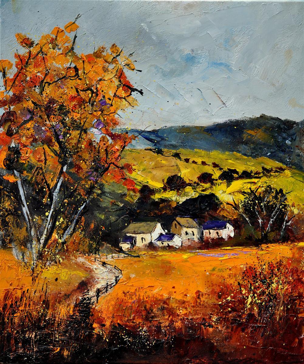 """Village in fall"" original fine art by Pol Ledent"