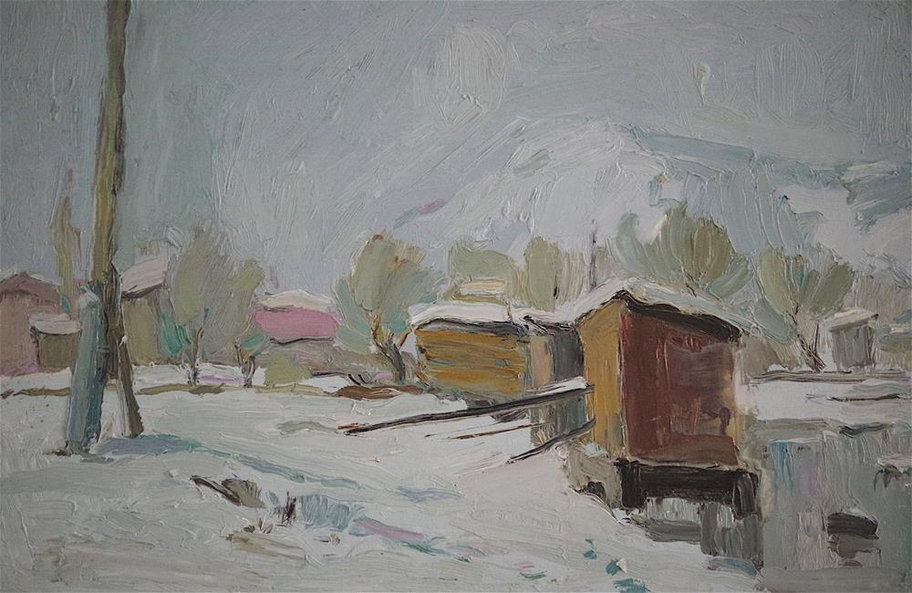 """Winter Landscape oil Painting, Original  Handmade art, One of a Kind"" original fine art by V Y"