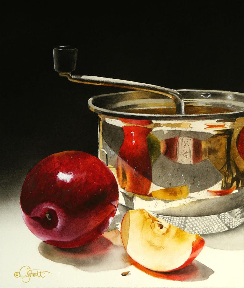 """Apple & Juicer"" original fine art by Jacqueline Gnott, TWSA, WHS"