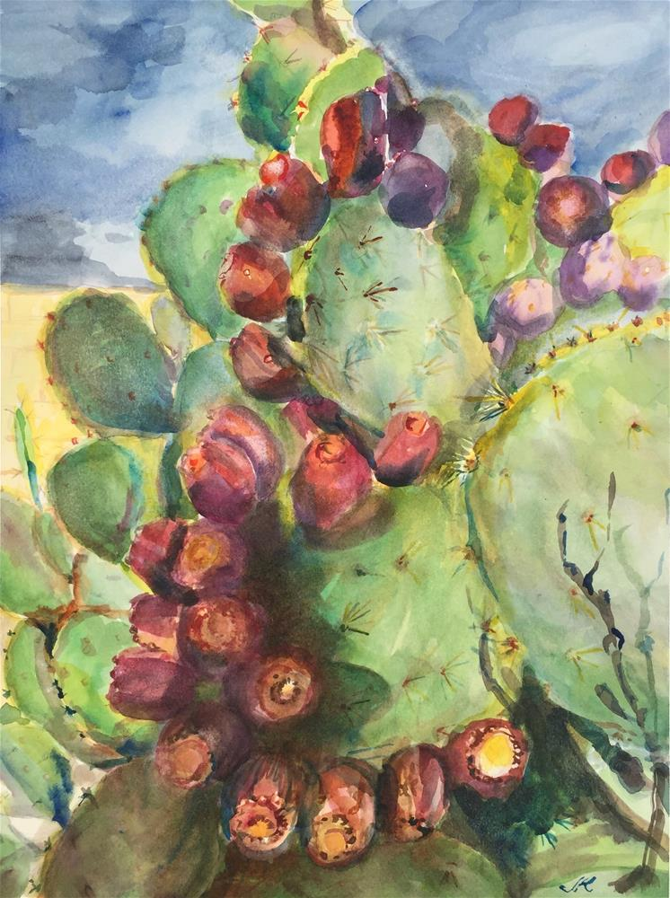 """Prickly Pear - Opuntia"" original fine art by Jean Krueger"