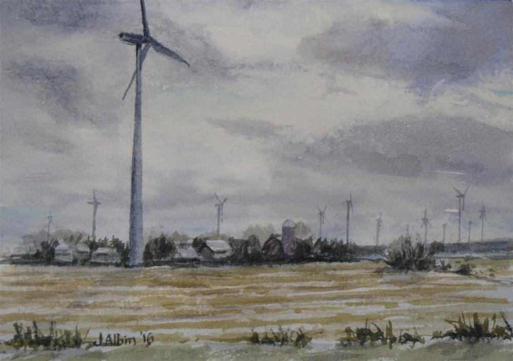 """Farms and Wind Farms Together, Iowa"" original fine art by Jane Albin"