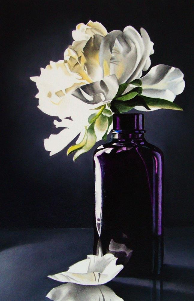 """Still Life with Purple Vase"" original fine art by Jacqueline Gnott, TWSA, WHS"