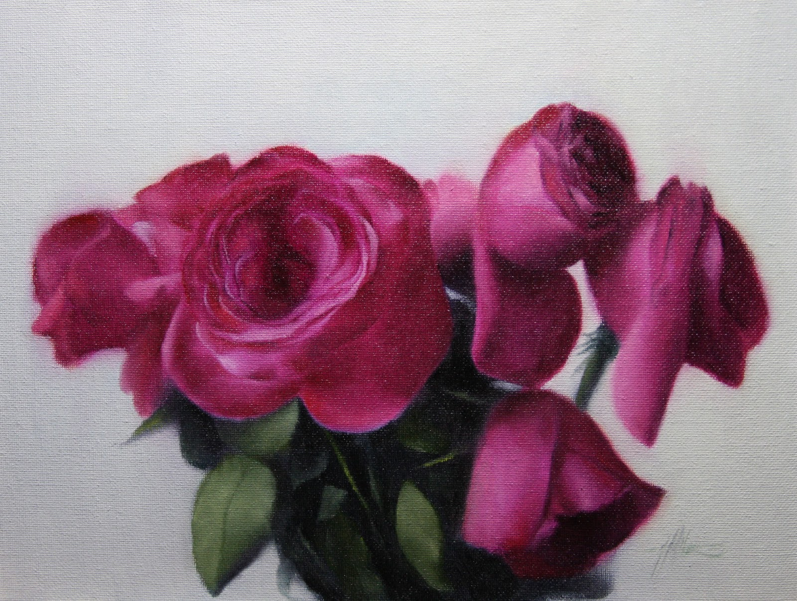"""Pink Roses 2nd lesson of Alla Prima Online Course."" original fine art by Jonathan Aller"