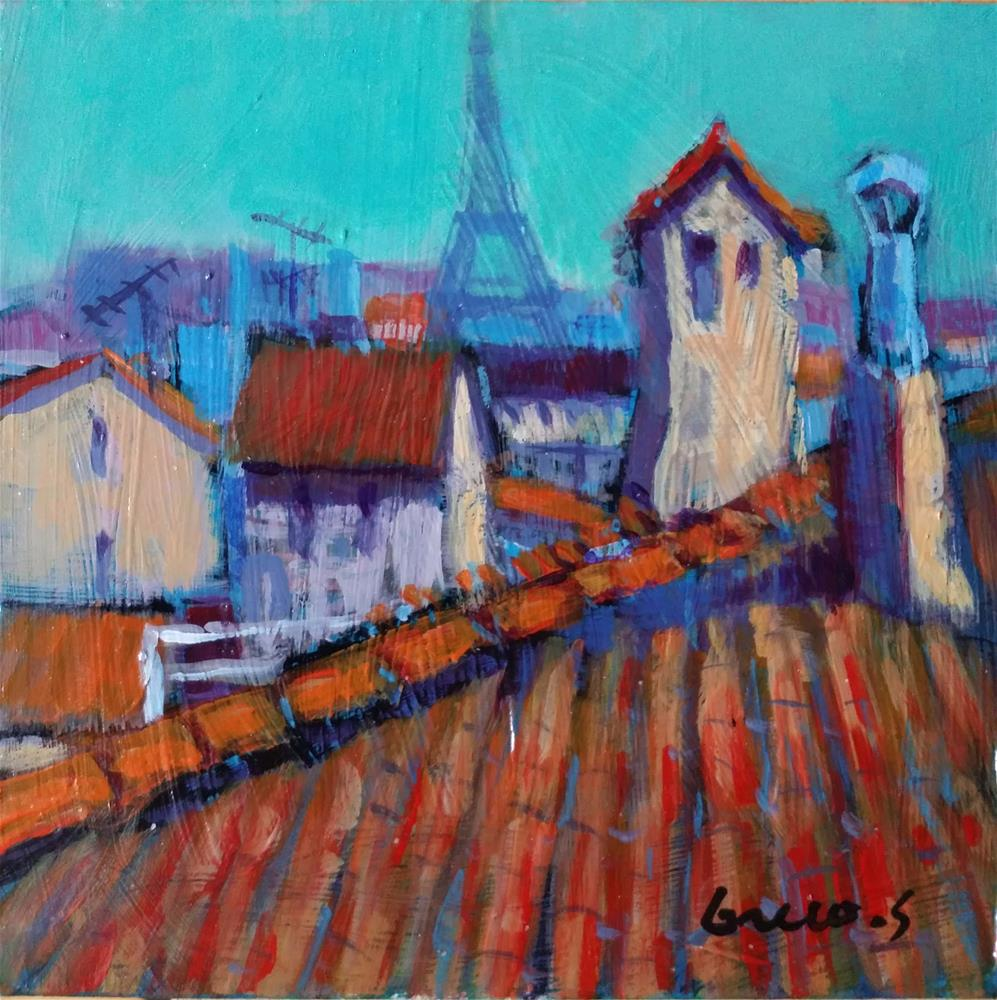 """roofs of Paris #2"" original fine art by salvatore greco"
