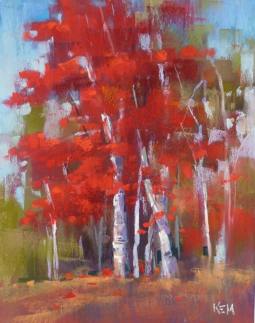 """Painting the Colors of Fall....RED part one"" original fine art by Karen Margulis"