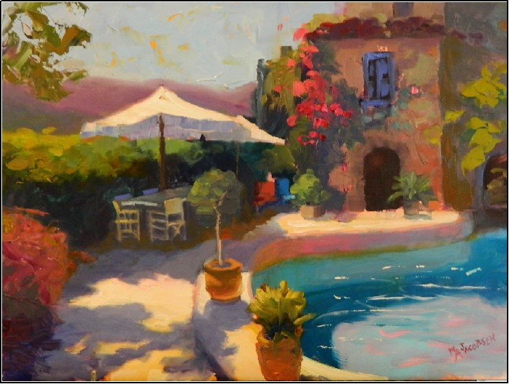 """Holiday Villa, 12x16, oil on board, south of france, French villas, paintings of Provence, gardens"" original fine art by Maryanne Jacobsen"