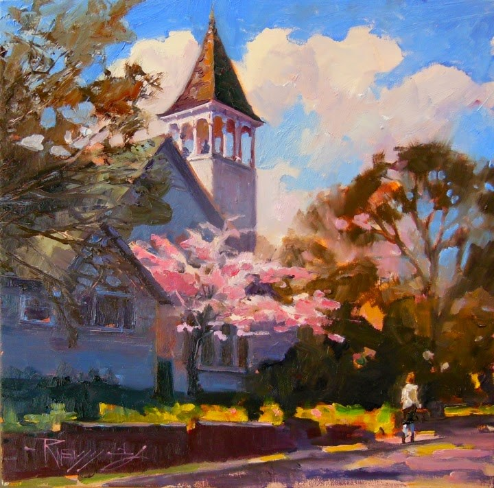 """Spring Blessing  Bainbridge Island urban, landscape painting by Robin Weiss"" original fine art by Robin Weiss"
