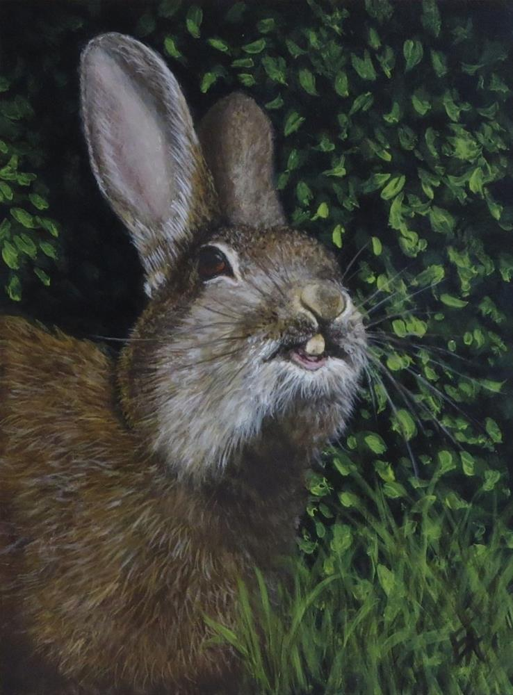 """Toofy Bunny (framed)"" original fine art by Elizabeth Elgin"