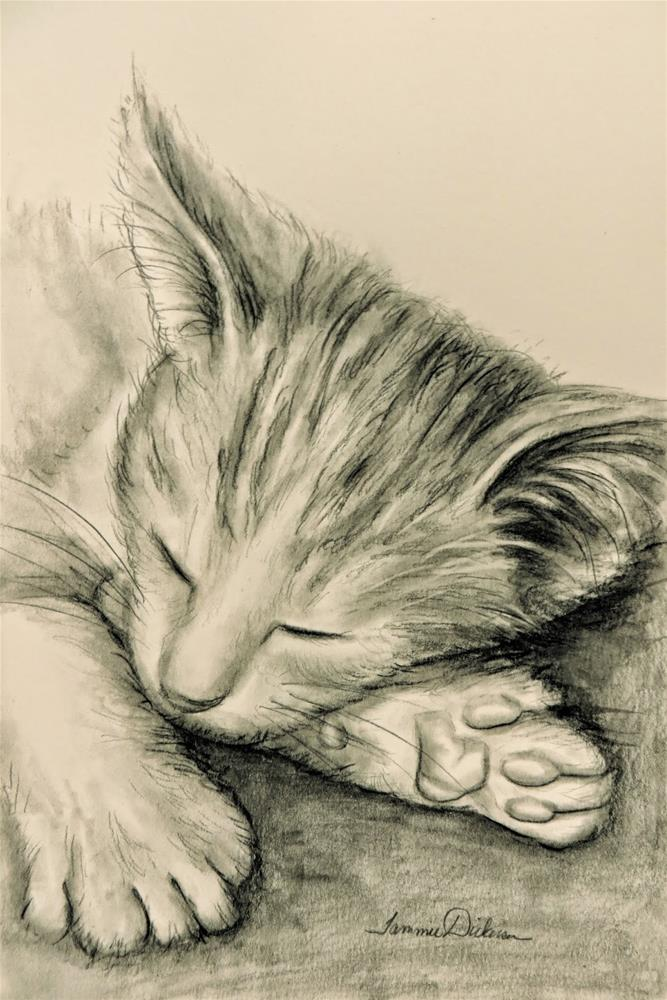 """Sleeping Kitten"" original fine art by Tammie Dickerson"