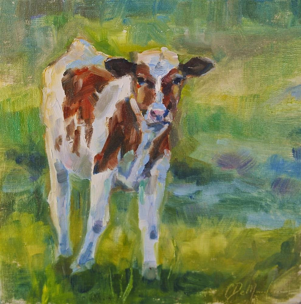 """Guernsey Calf, Cow Portrait, Original oil by Carol DeMumbrum"" original fine art by Carol DeMumbrum"