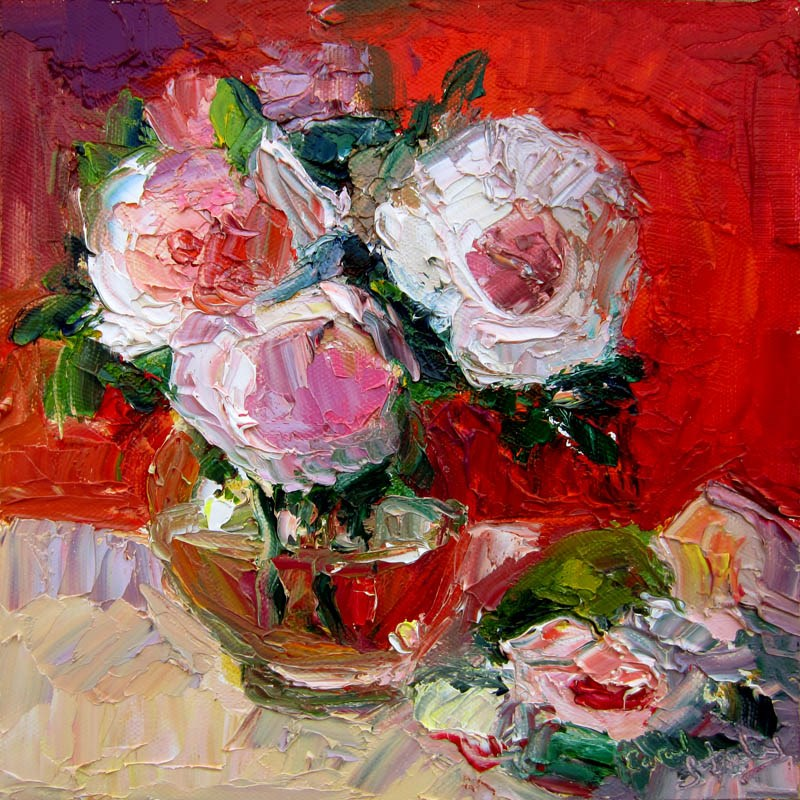 """Wedgewood Roses in the Studio, Hot Pink Background"" original fine art by Carol Steinberg"