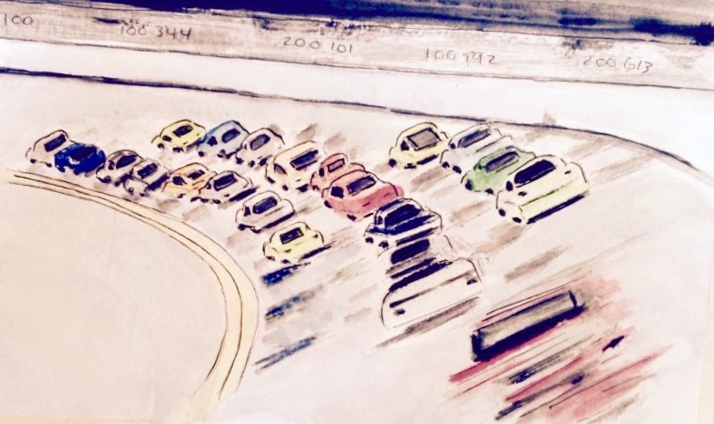 """""""NASCAR # 2 Watercolor SOLD"""" original fine art by Nancy Beard"""