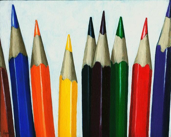 """Colored Pencils - still life"" original fine art by Linda Apple"