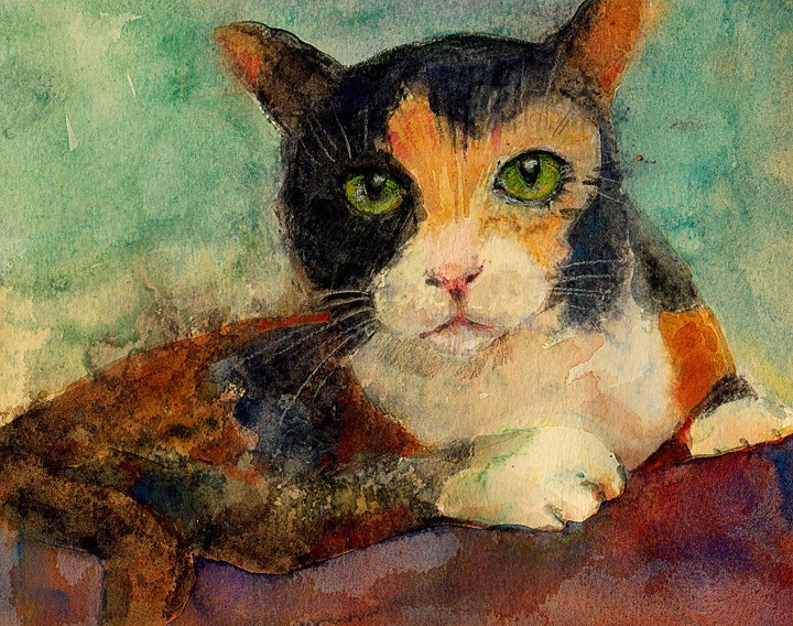 """Monotype: Furry Blessings"" original fine art by Belinda Del Pesco"