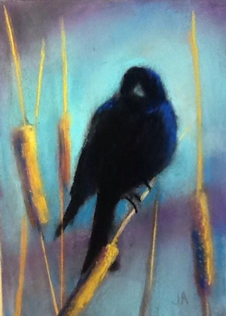 """Blackbird Sitting at the Break of Day"" original fine art by Judy Albright"