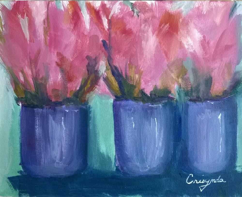 """#6 oil Pink Flowers at Play"" original fine art by Crisynda Buss"