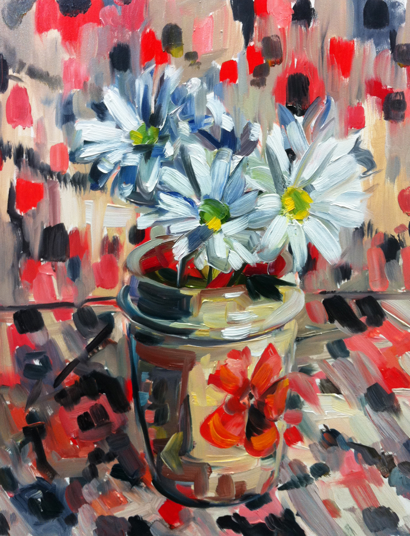 """Daisies and Ceramic Cup"" original fine art by Katy O'Connor"