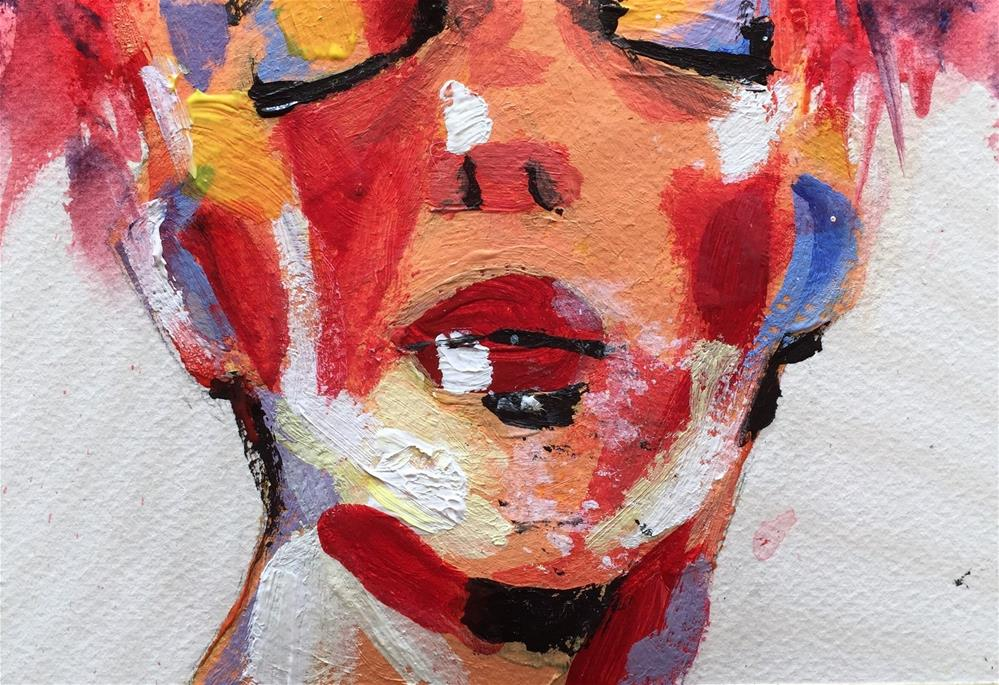 """WOMAN'S FACE WITH EYES CLOSED"" original fine art by Ferran Llagostera"