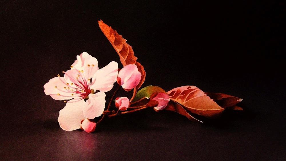 """""""Peach Blossom"""" original fine art by Jacqueline Gnott, whs"""