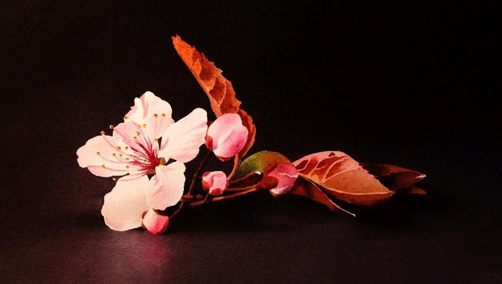 """Peach Blossom"" original fine art by Jacqueline Gnott, TWSA, WHS"