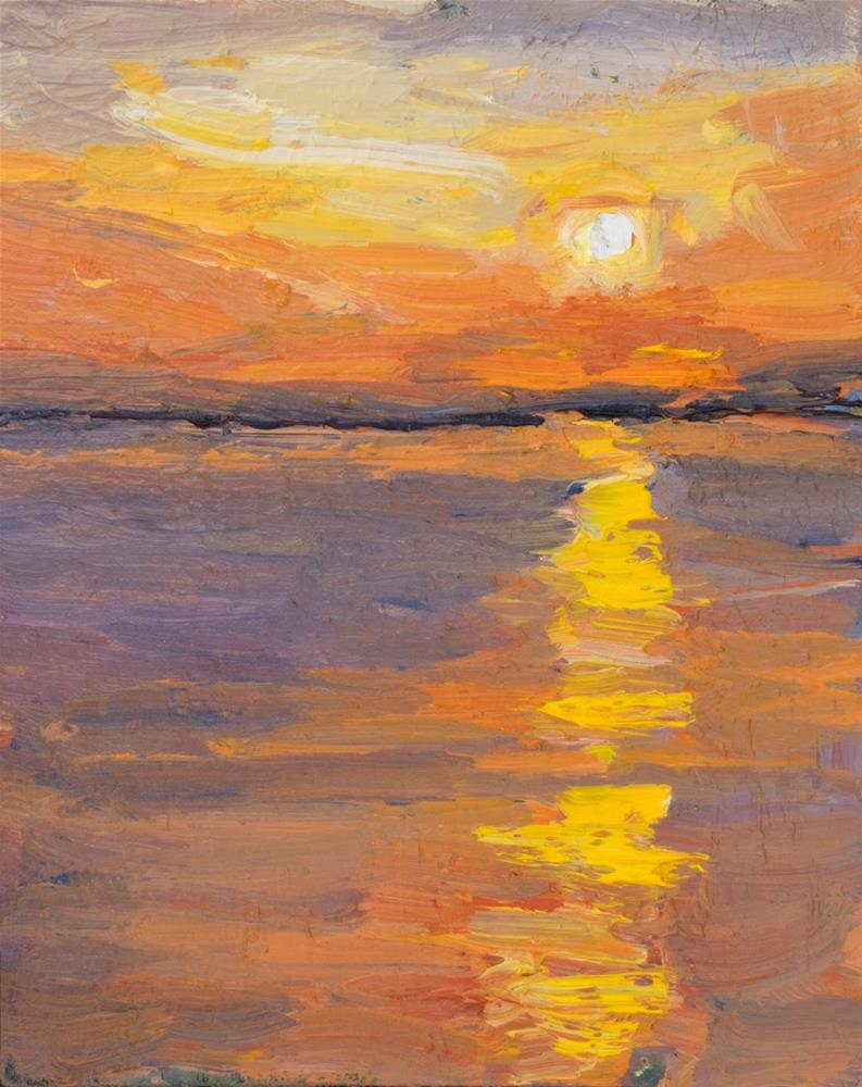 """KMA3030 Serene Moment by Colorado contemporary artist Kit Hevron Mahoney (10x8 oil textured sunset)"" original fine art by Kit Hevron Mahoney"