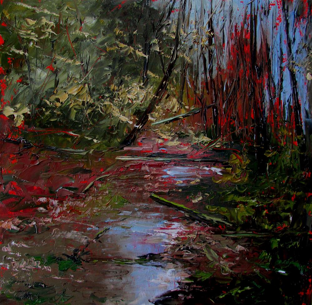 """8 x 8 inch oil Stream in Chemainus"" original fine art by Linda Yurgensen"