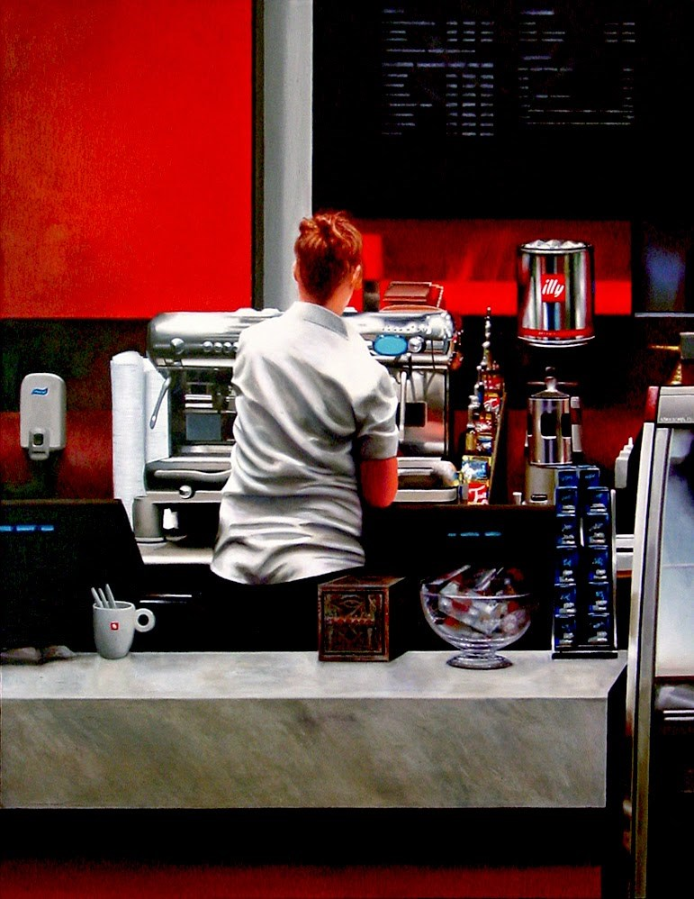 """Coffee Bar- Painting Of Woman Working In Coffee Bar"" original fine art by Gerard Boersma"