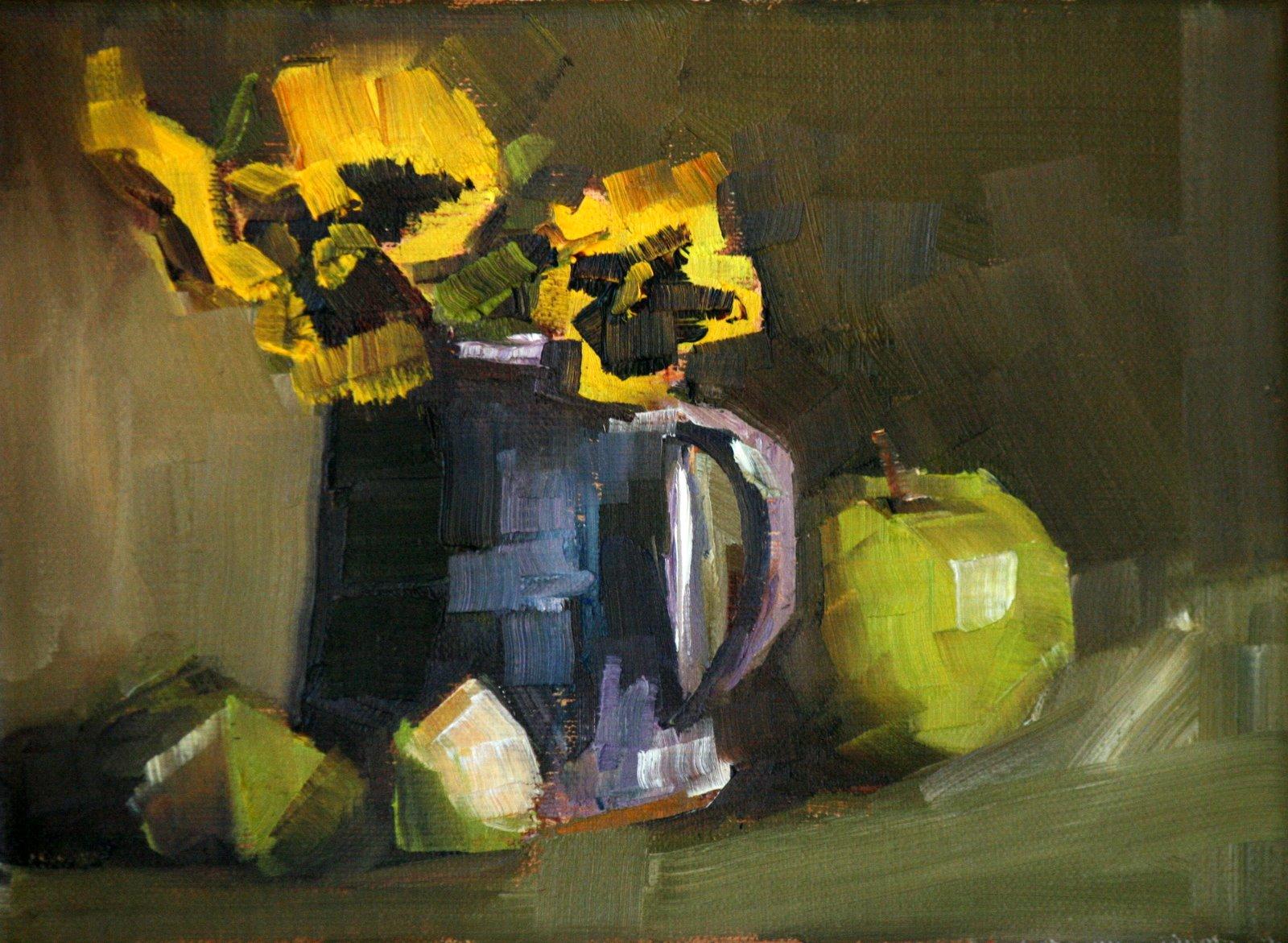 """yellow in purple"" original fine art by Carol Carmichael"