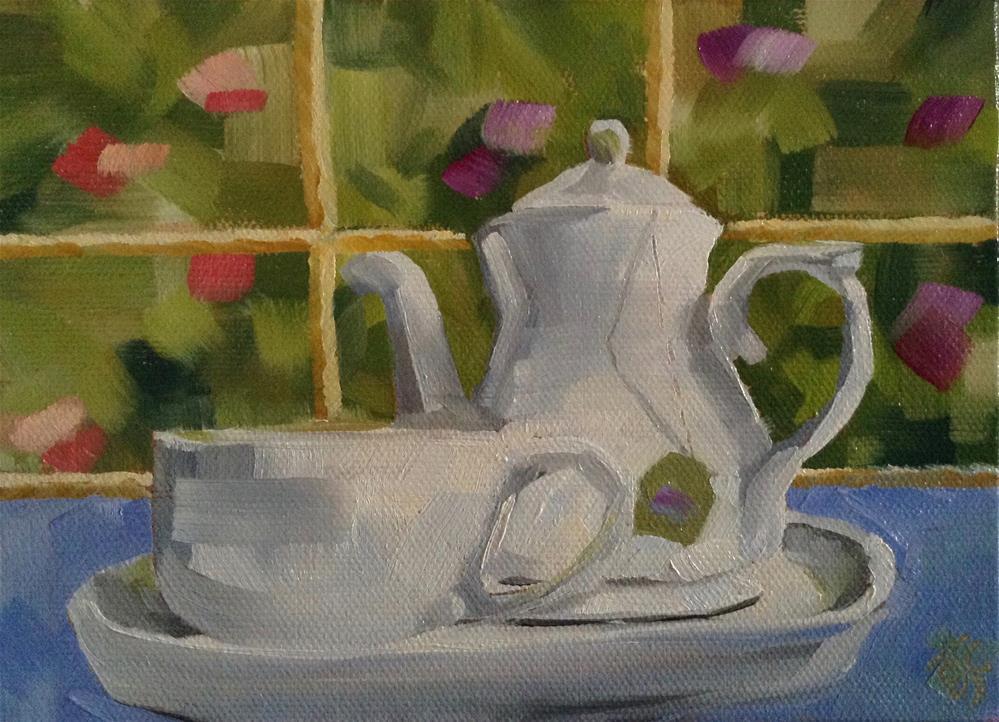 """""""Tea Time"""" original fine art by Bobbie Cook"""