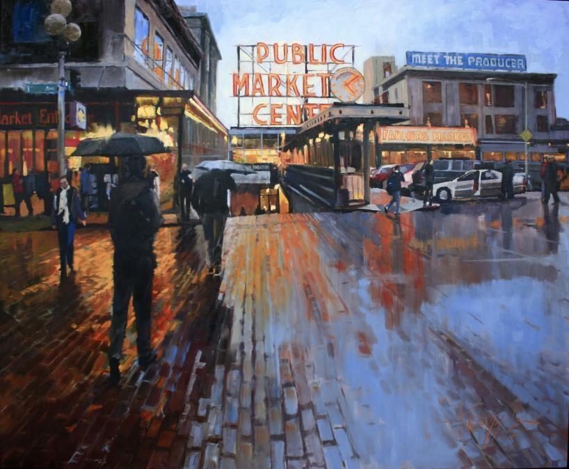"""""""Market Lights  Seattle Cityscape by Robin Weiss"""" original fine art by Robin Weiss"""