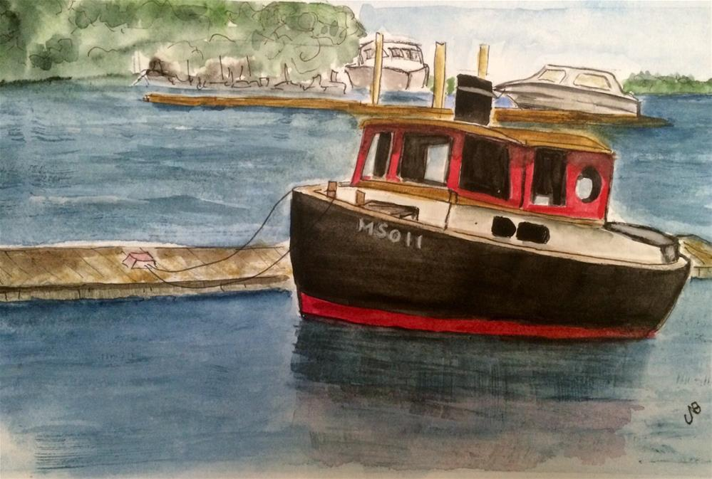 """Tug on the North River Watercolor 9 x 6"" original fine art by Nancy Beard"