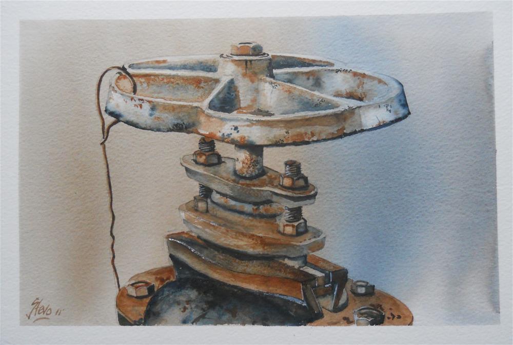 """The Water Valve in Cherkovo"" original fine art by Martin Stephenson"