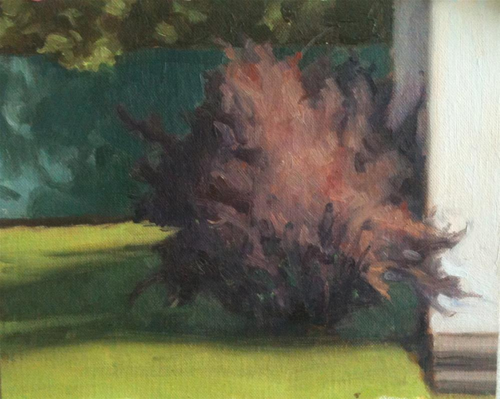 """Workshop Painting of a Bush in the Sun"" original fine art by Megan Schembre"