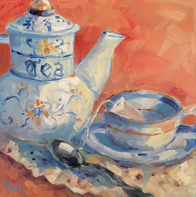 """Tea Time"" original fine art by Suzy 'Pal' Powell"