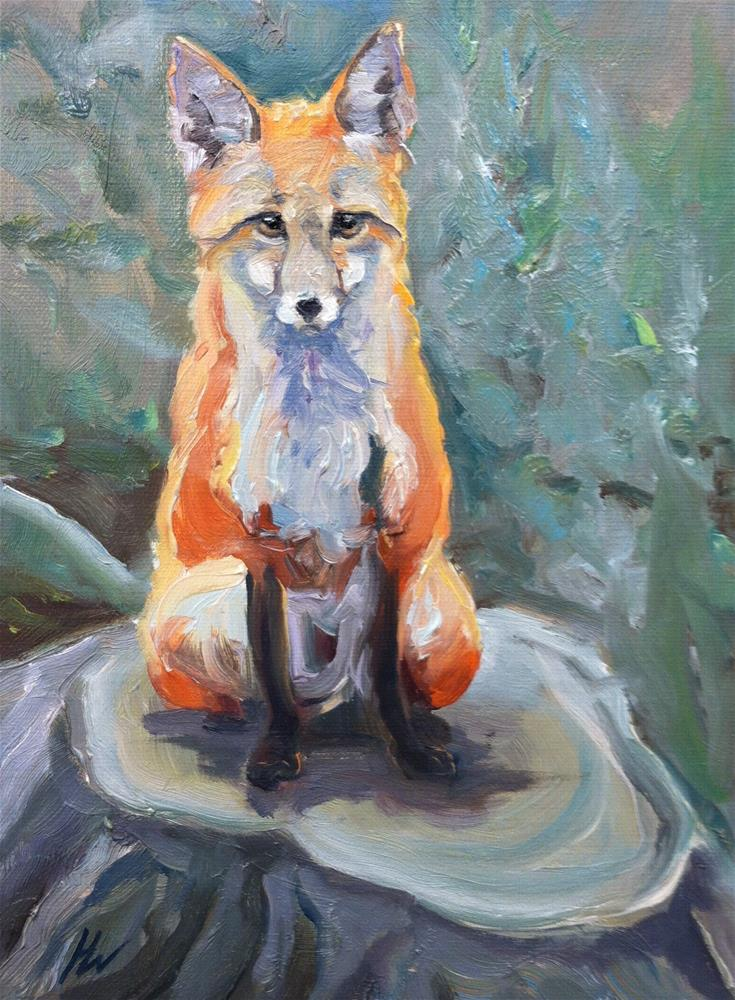 """Fox on a Stump"" original fine art by H.F. Wallen"