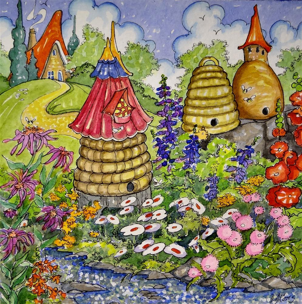 """""""Busy Bee Time Storybook Cottage Series"""" original fine art by Alida Akers"""