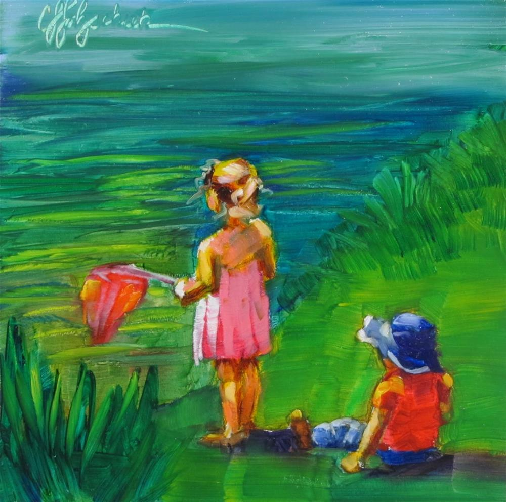"""Fishing"" original fine art by Christine Holzschuh"
