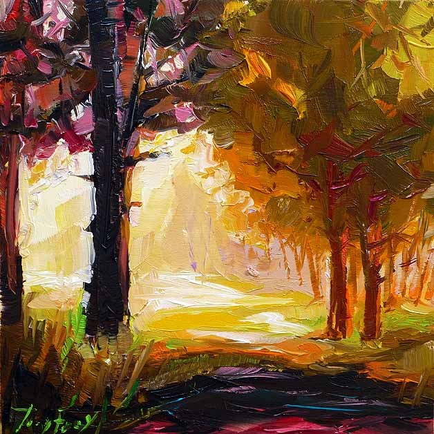 """Sunny day in the forest"" original fine art by Jurij Frey"